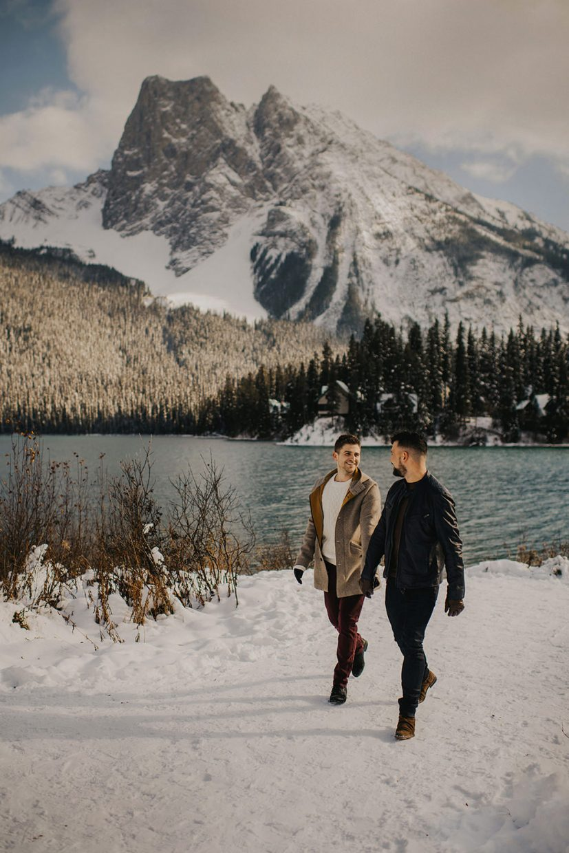 same sex engagement at emerald lake