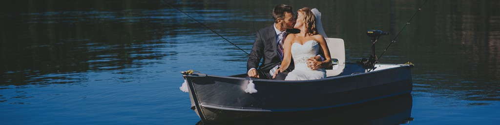 Bride and Groom in fishing boat
