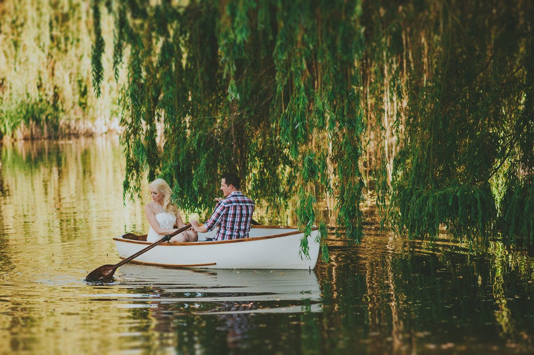 Vintage Rowboat on a Lagoon in Vernon during Engagement