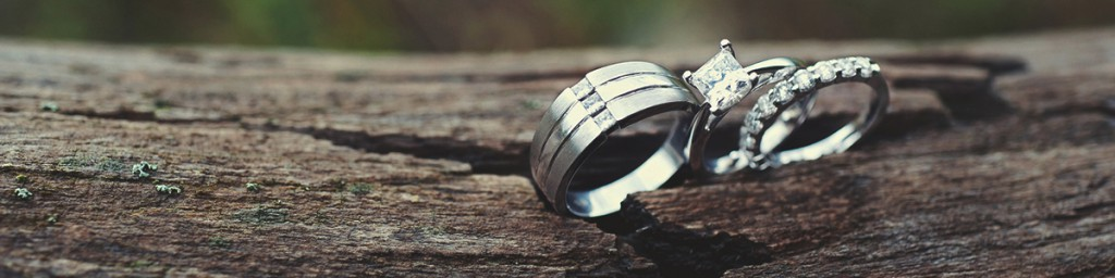 Wedding Rings in Wood Crack