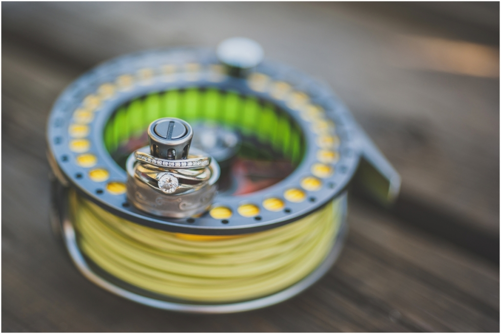 Engagement Wedding Rings on Fly Fishing Reel