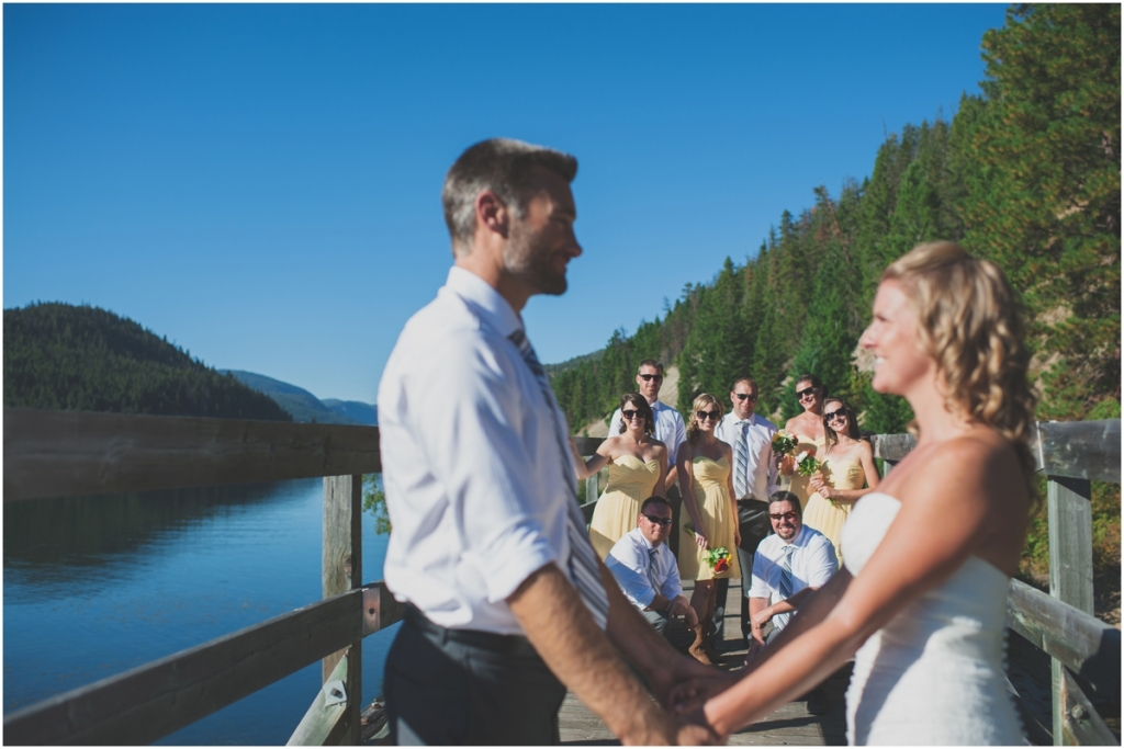 Wedding Party on bridge in Tulameen BC