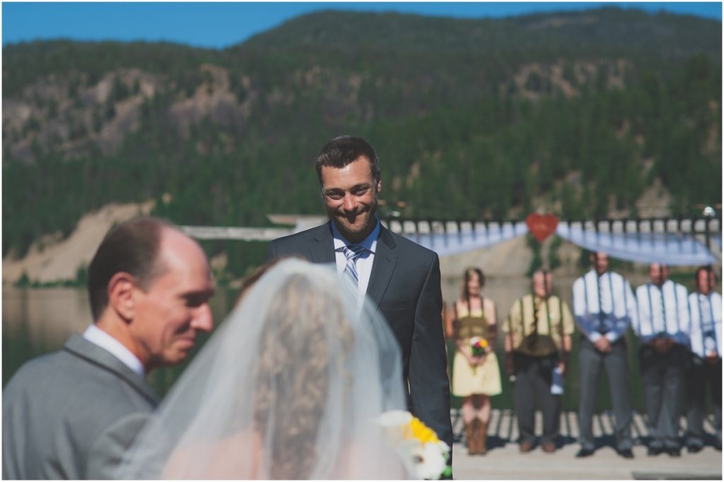 Happy Groom at first sight of Bride