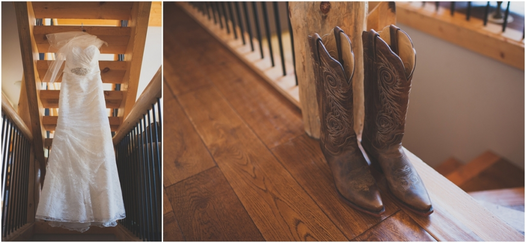 Wedding Dress and Cowboy Boots Photo