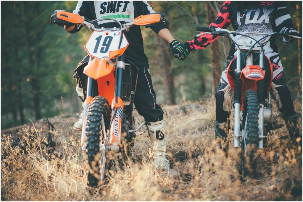 Couples engagement with dirt bikes