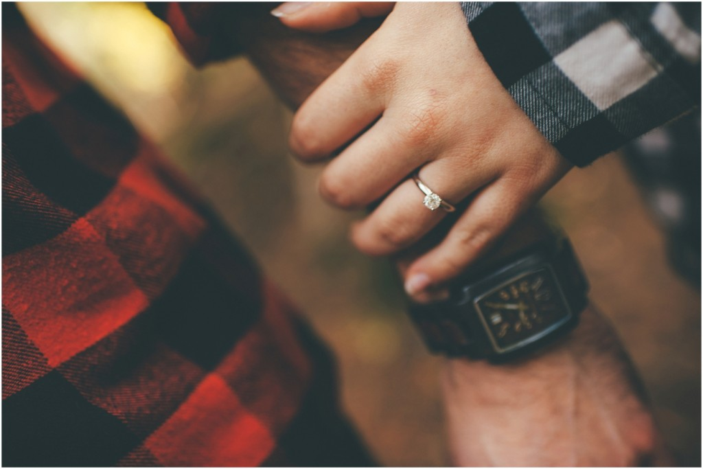 Engagement ring with wooden watch