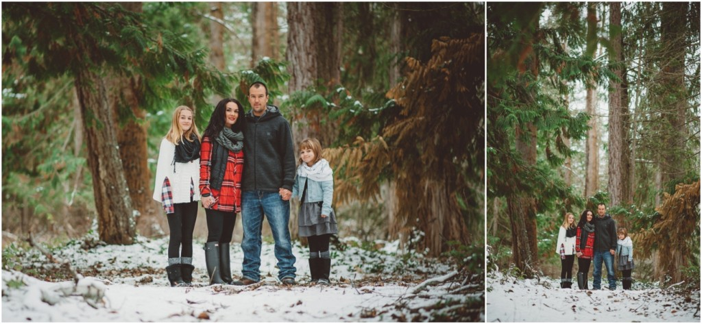 Family photos in the snowy trees