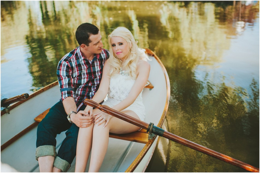 Vintage rowboat engagement photography