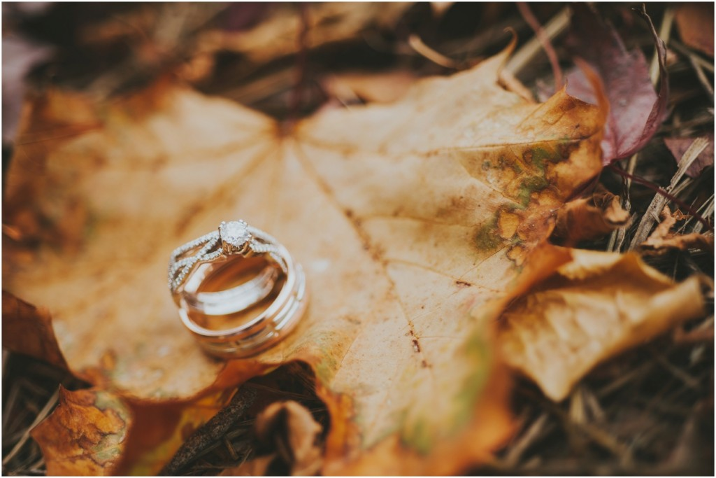 Fall leaves with Wedding Rings