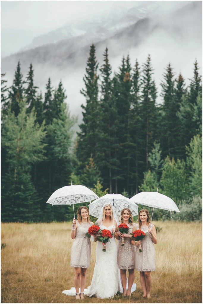 Bridesmaids during Canmore Alberta Wedding