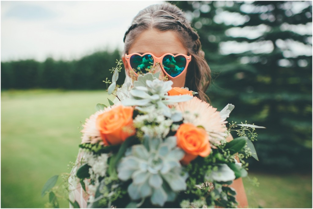 Hipster Bride with Bouquet