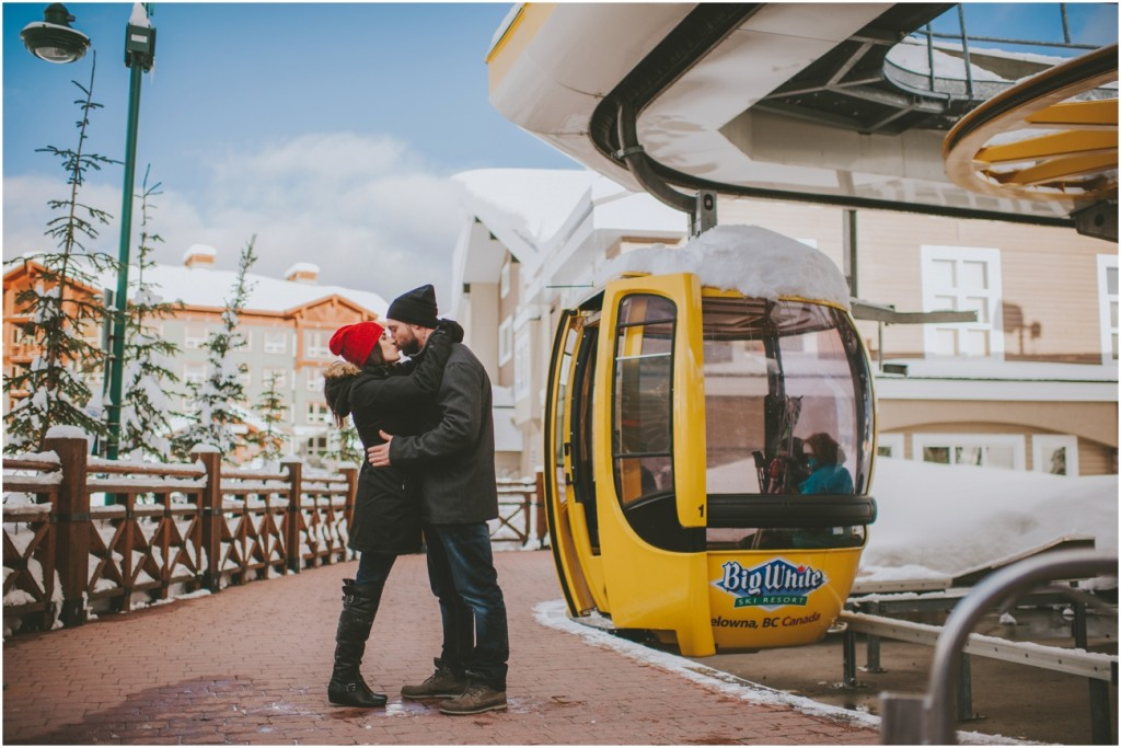 Engagement with Gondola at Ski Resort