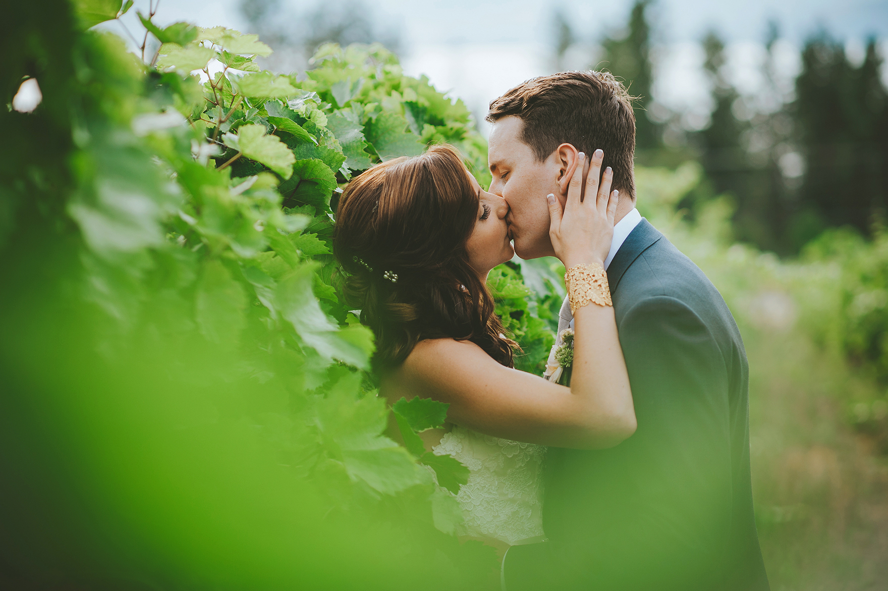 Intimate wedding couple in vineyard of winery