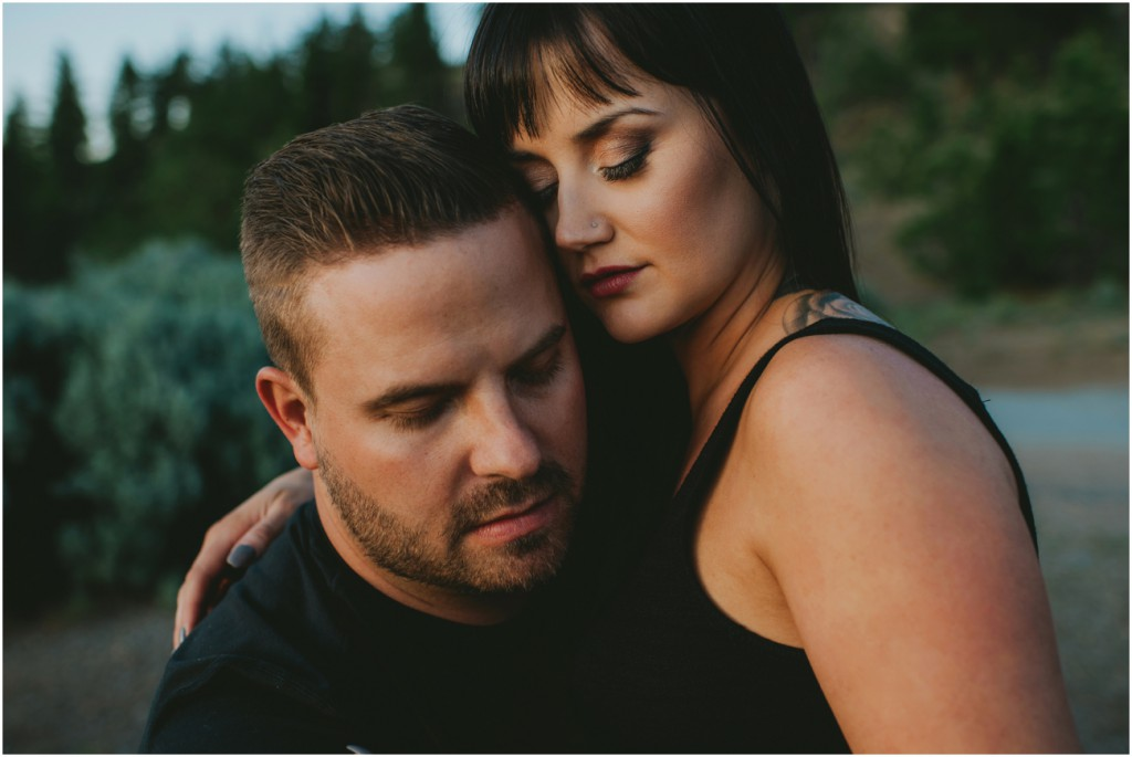 Intimate photo of couple on Harley in Summerland