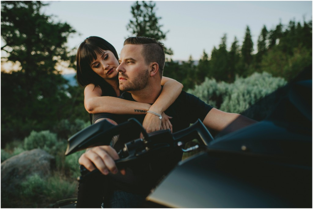 Badass couple on Harley for Engagement Photo