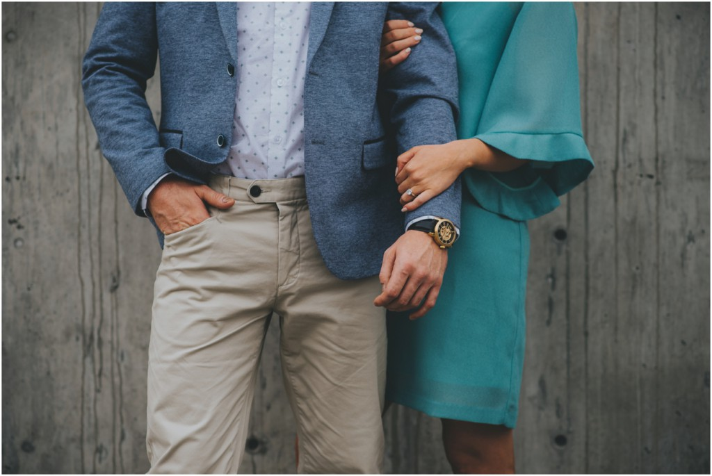 Trendy fashioned couple during engagement shoot