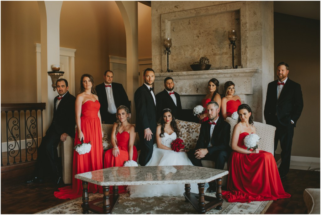 Elegant bridal party photo in mansion