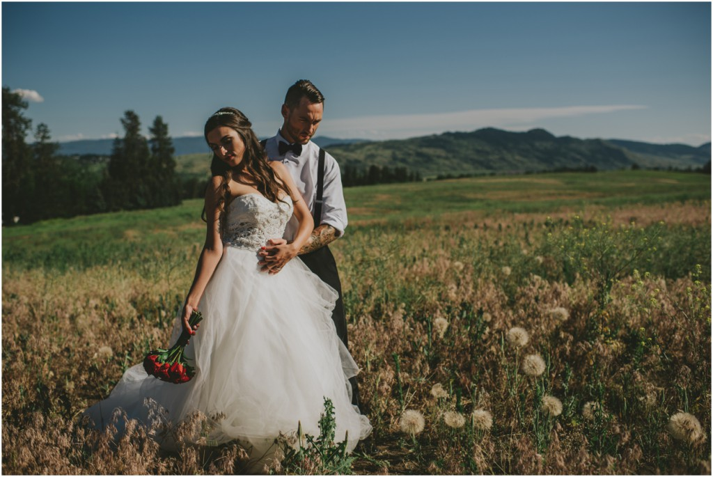 Bride and Groom in the mountains of Okanagan