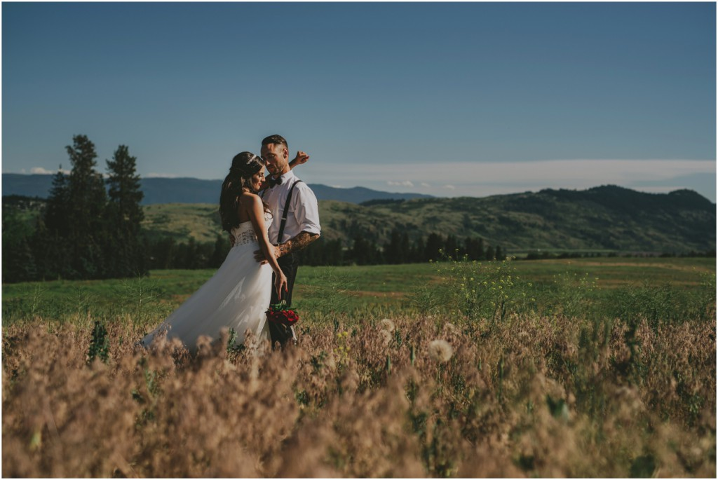 Okanagan Wedding photo with Mountains in background