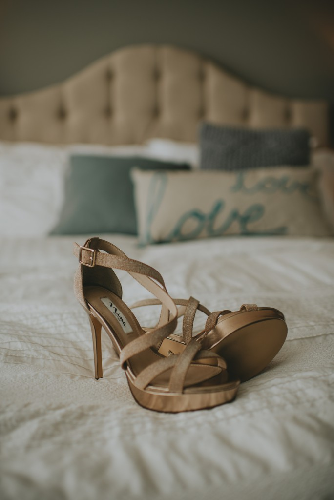 Brides Wedding shoes with Love pillow