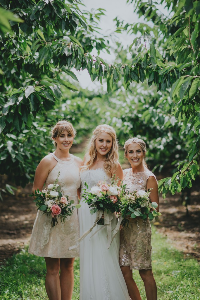 Bridesmaids in Okanagan orchard Wedding