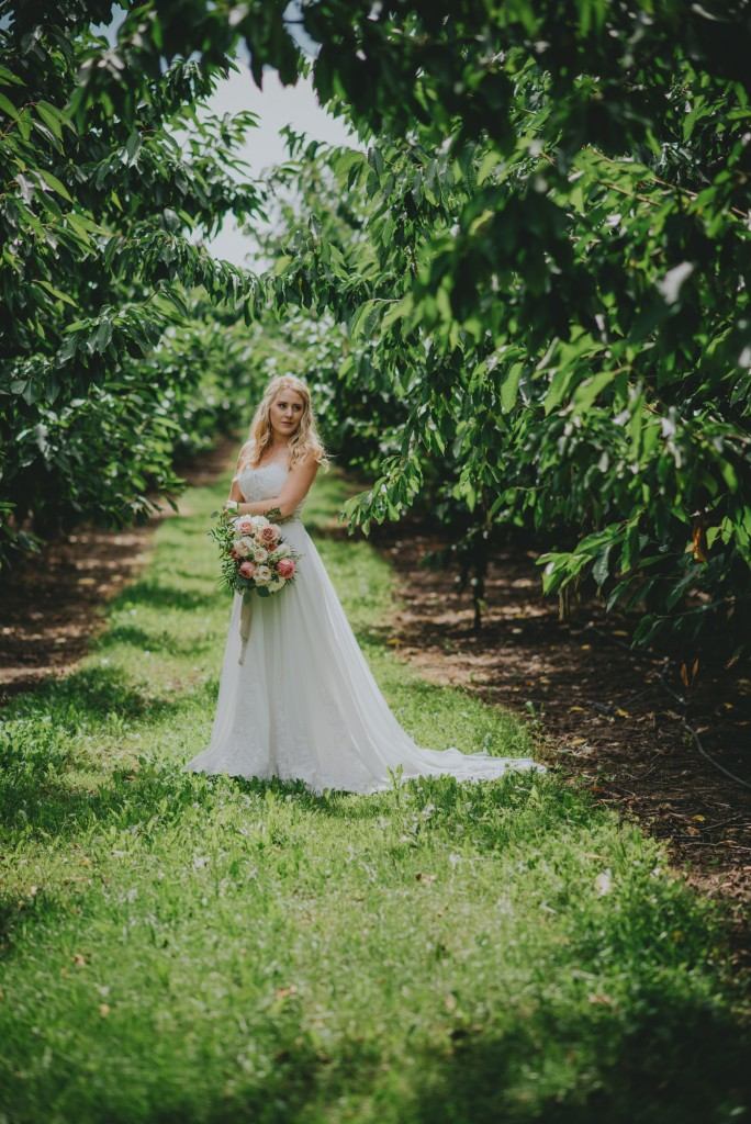 bridal portraits in Okanagan Orchard
