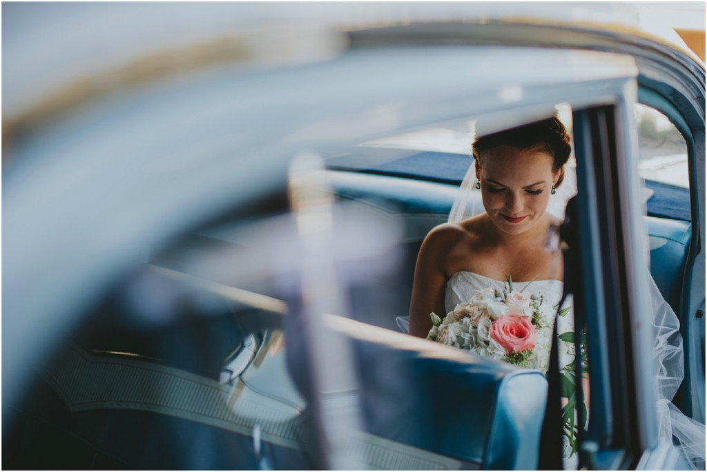 Bridal Portrait in Vintage Car