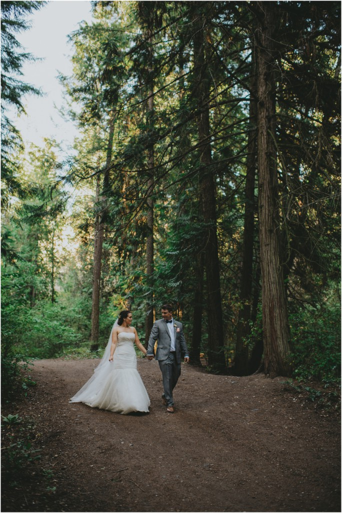 Couple in the woods in the Okanagan