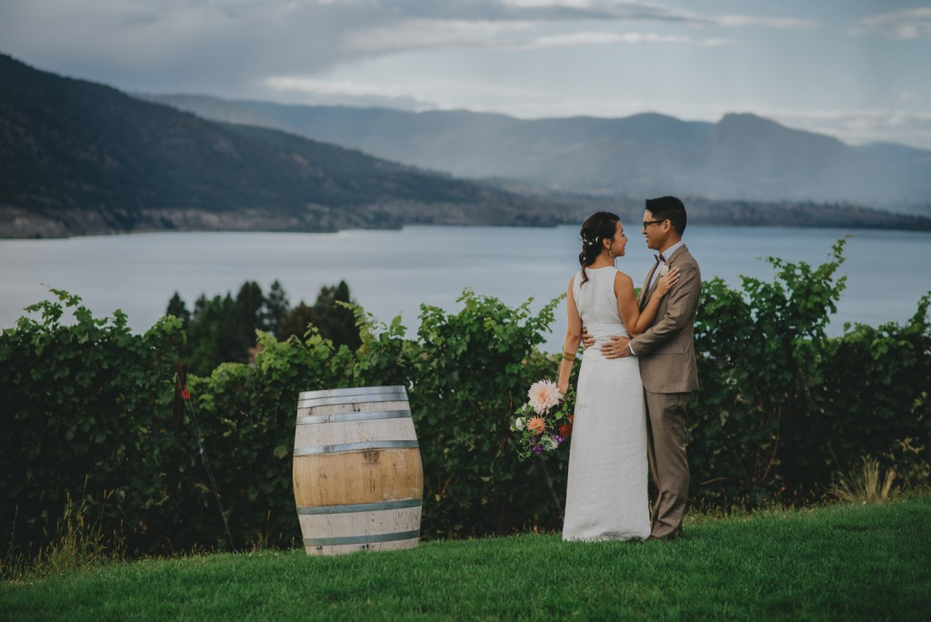 Bride and Groom in Vineyard in Epenticton