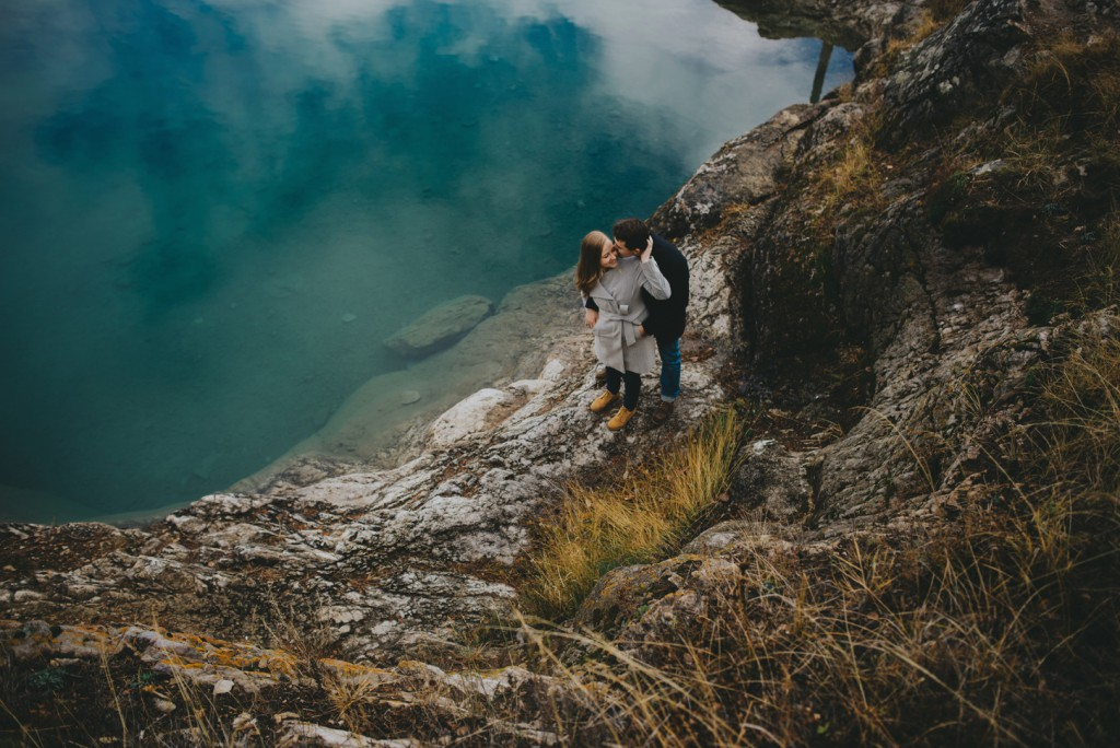 Blue water banff engagement photo