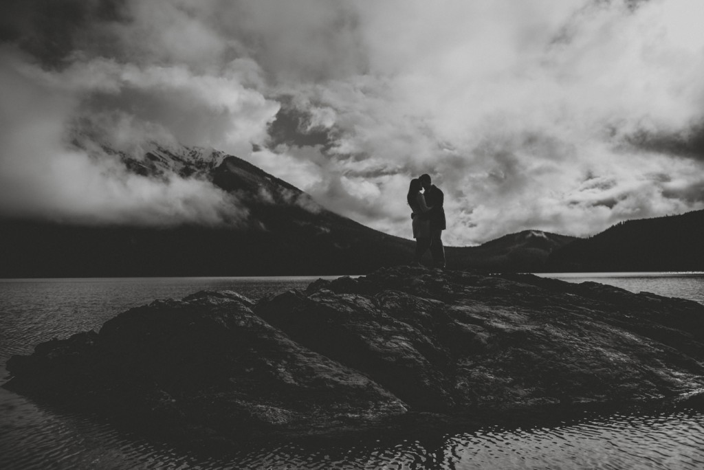 Silhouette photo of engagement in the rockies