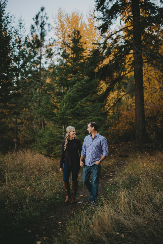 moody fall engagement photo