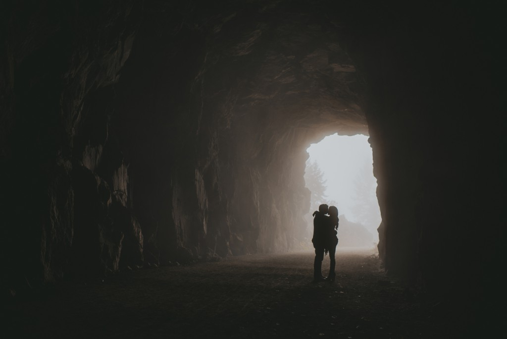 Foggy Cave engagement photo