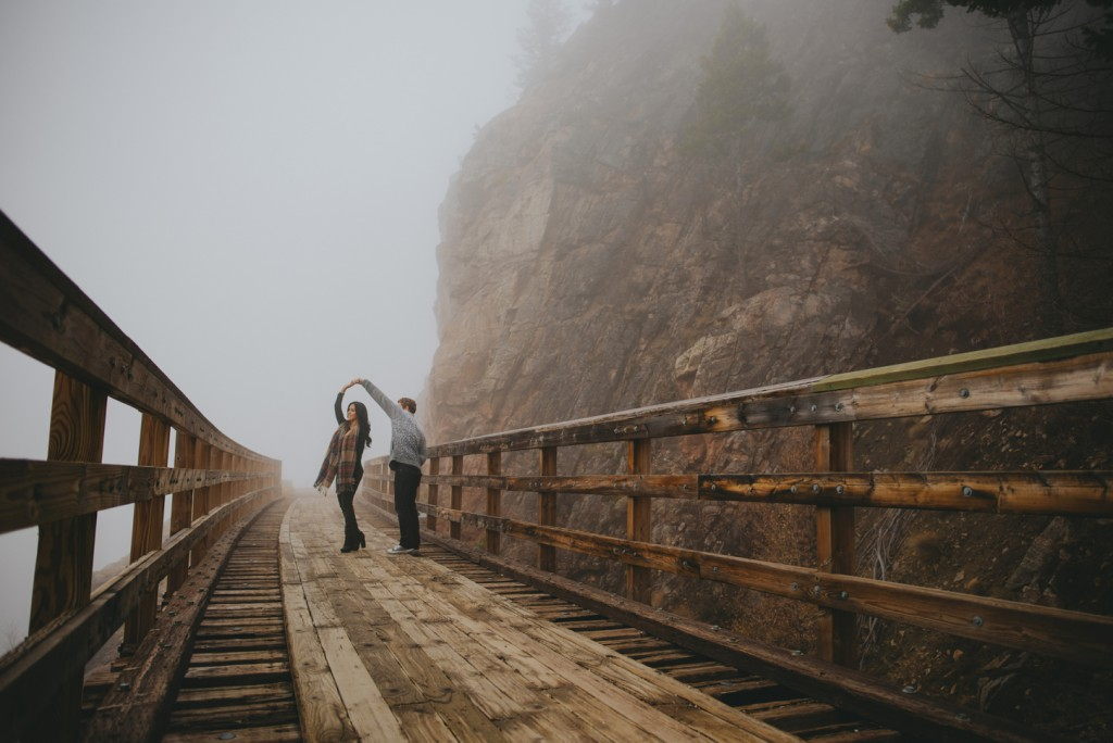 Foggy mountain engagement session