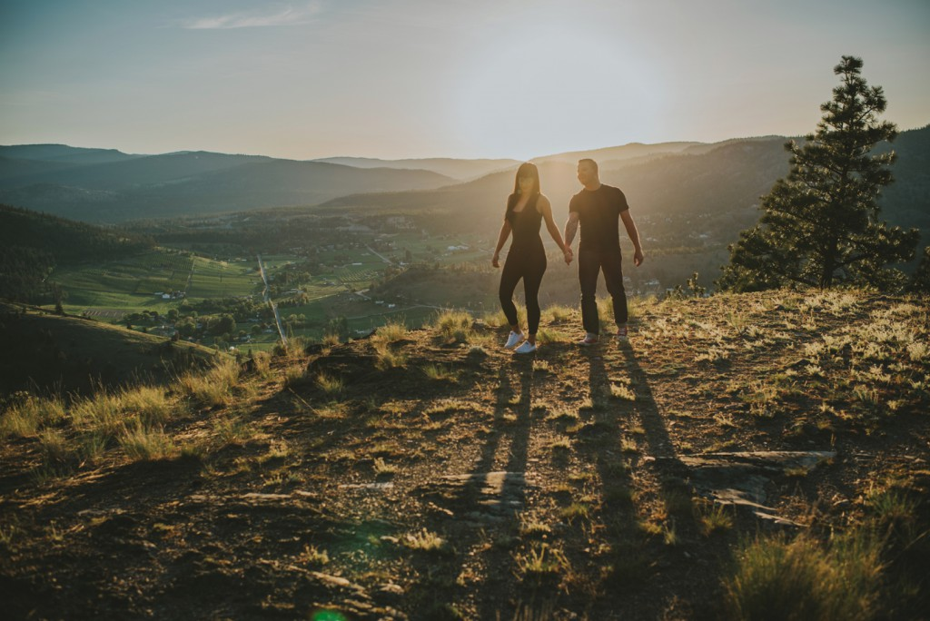 Mountain landscape during sunset engagement