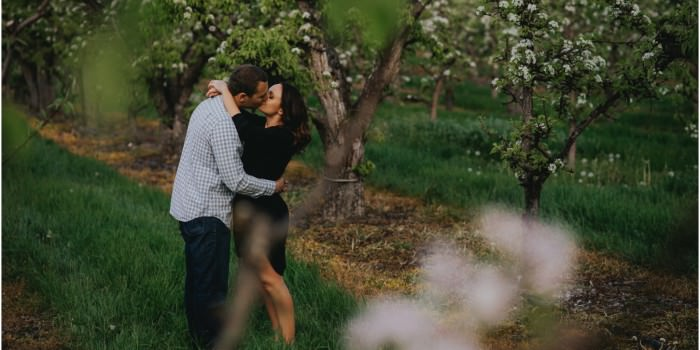 Okanagan Orchard Engagement Photo