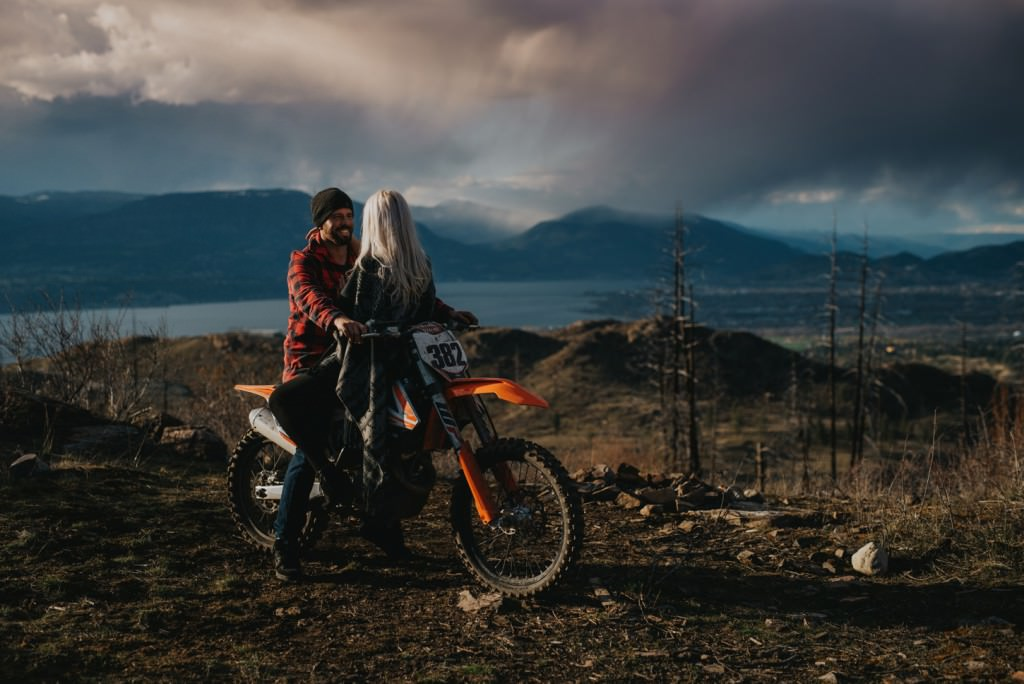 KTM dirt bike for engagement session