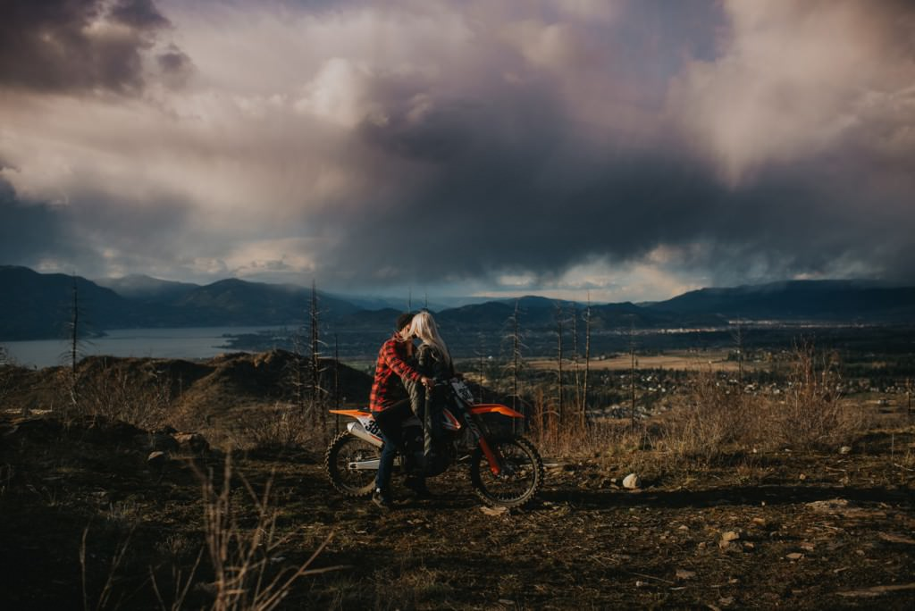 intimate dirt bike engagement session