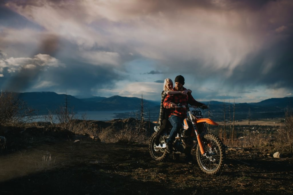 dirt bike engagement session in the Okanagan