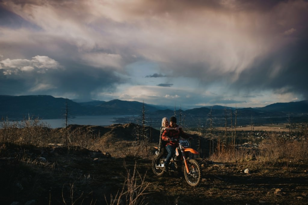 dirt bike engagement session in the mountains