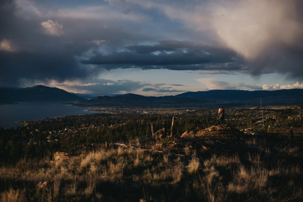 Stunning Kelowna mountain views during engagement