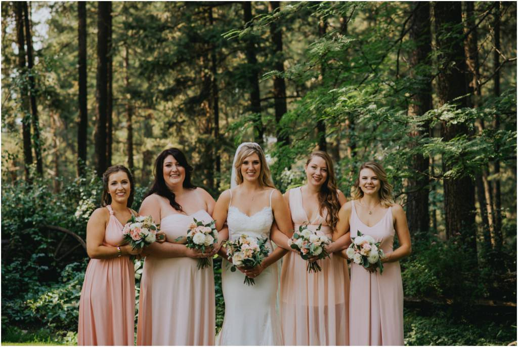Bridesmaids Forest Wedding Photo