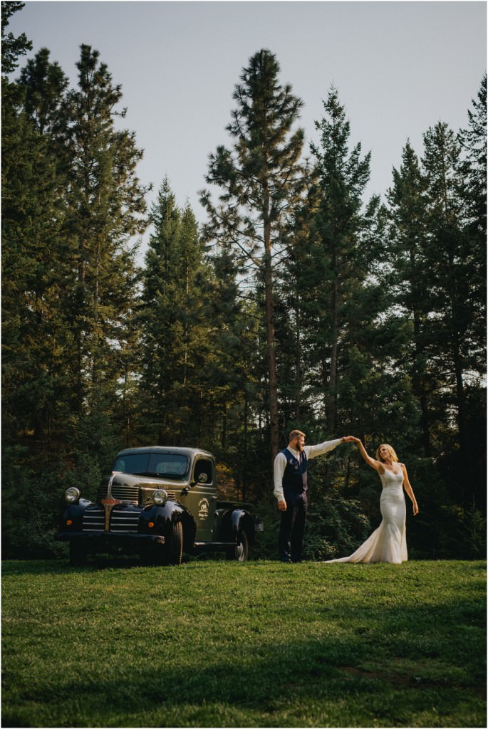 Classic Dodge Truck Wedding Photo