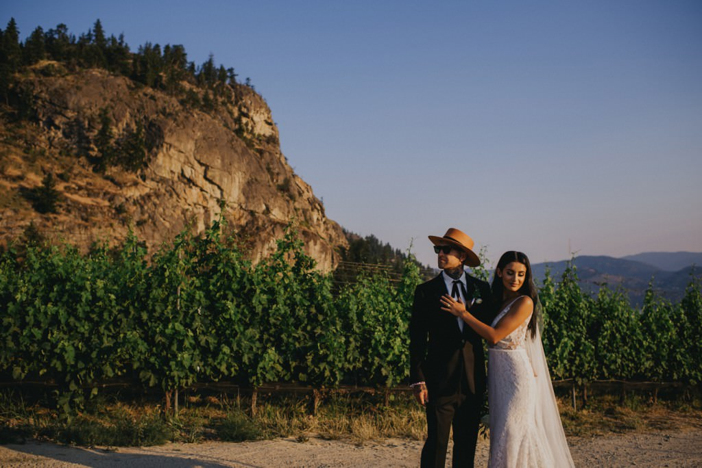 Stylish Wedding Couple in Vineyard at Painted Rock