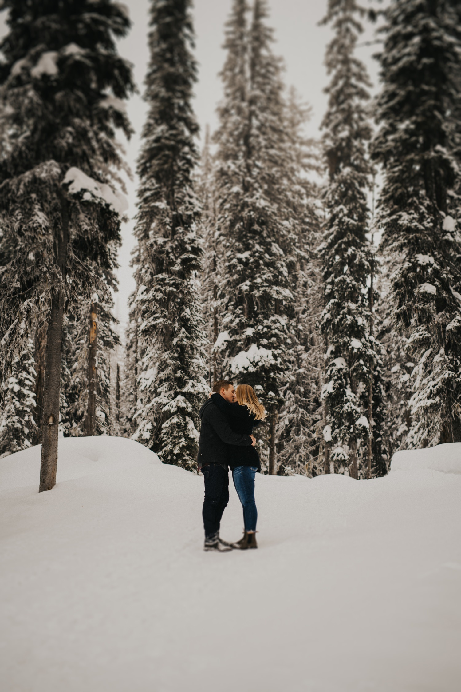 Snowy Forest Engagement - Kelowna Photographer_0014