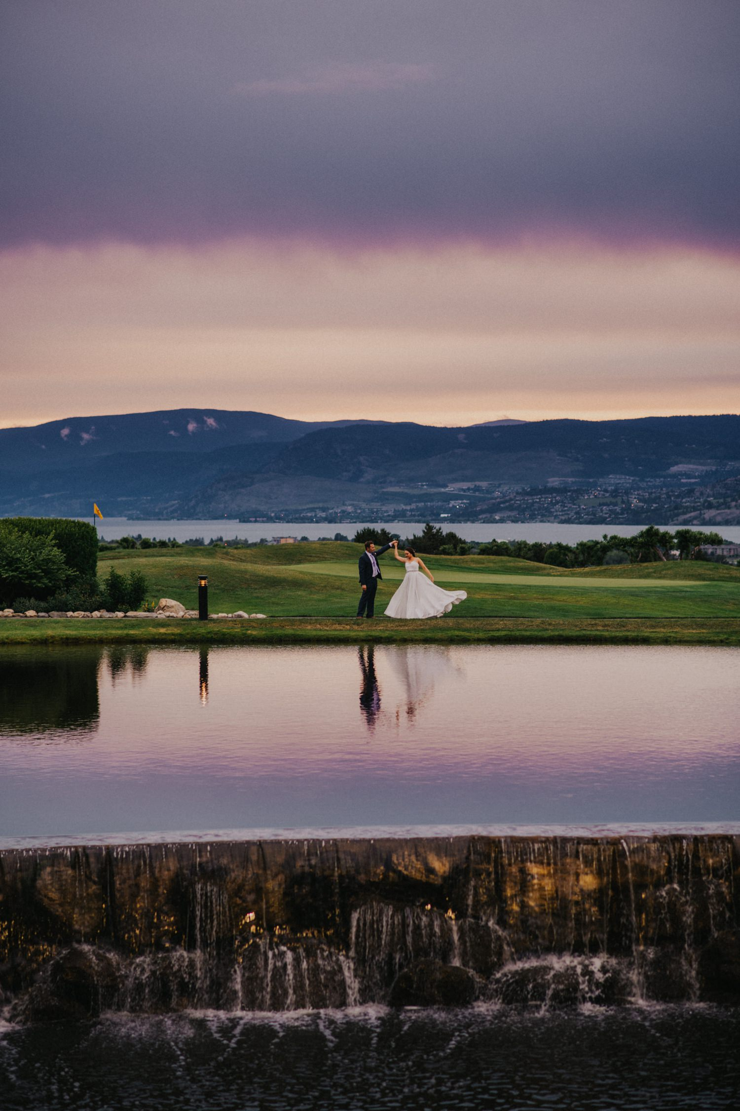 Sunset Wedding photo at the Harvest Golf Course