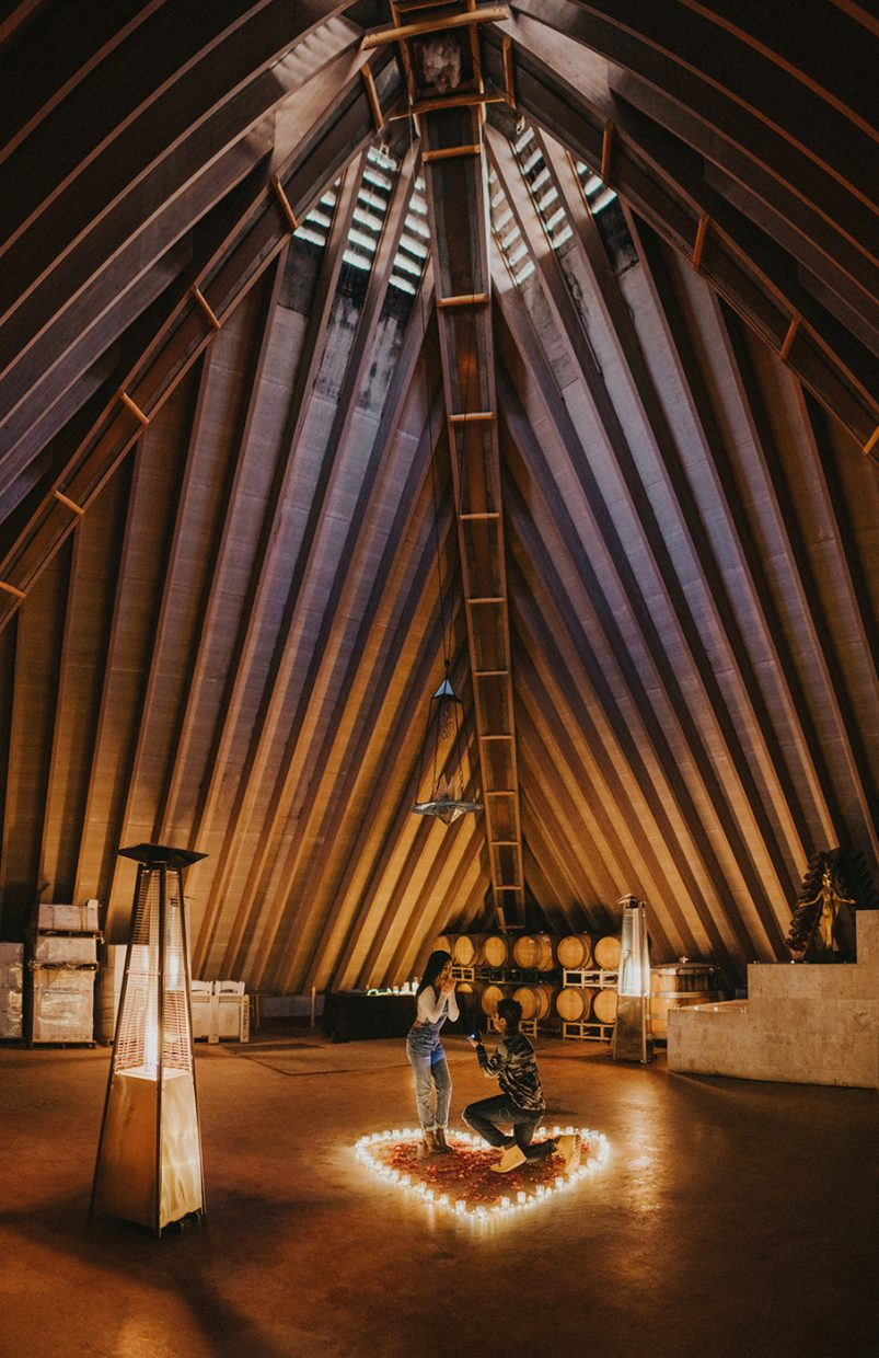 Proposal inside of Summerhill Pyramid Winery